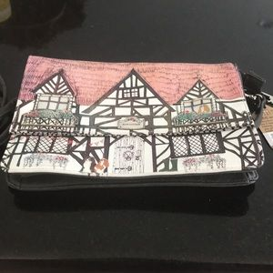 Small purse with inside pocket and shoulder strap
